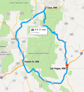 This is one of the most popular drives in our area. It takes you through Mora, Taos, Espanola, Santa Fe, and back to Las Vegas.